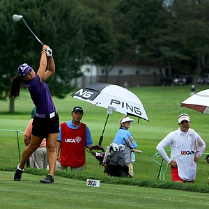Danielle Kang hits her tee shot at No. 3 during the final round at the U. S. Women's Amateur Championship at Rhode Island Country Club in Barrington, Rhode Island.