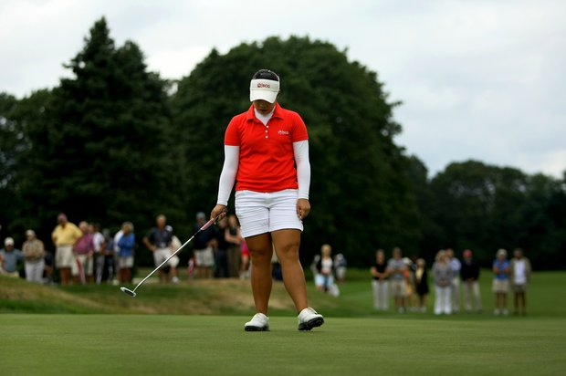 Moriya Jutanugarn reacts to missing her birdie putt at No. 9 during the afternoon match of the final round at the U. S. Women's Amateur Championship at Rhode Island Country Club in Barrington, Rhode Island.