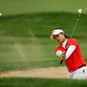 Moriya Jutanugarn hits from the bunker during the final round at the U. S. Women's Amateur Championship at Rhode Island Country Club in Barrington, Rhode Island.