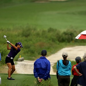 Danielle Kang hits her tee shot at No. 18 during the morning round of the final round at the U. S. Women's Amateur Championship at Rhode Island Country Club in Barrington, Rhode Island.