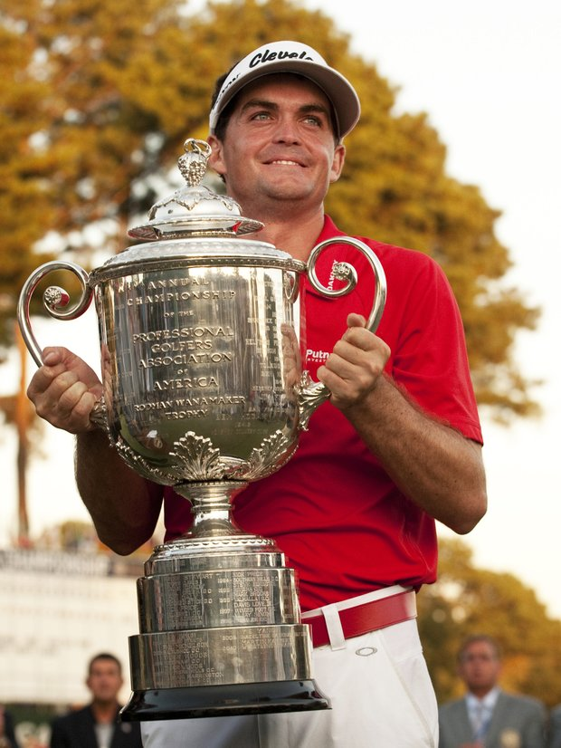Keegan Bradley of the US holds the Wanamaker trophy after his play-off victory over Jason Dufner of the US in the final round of the 2011 PGA Championship Tournament at Atlanta Athletic Club August 14, 2011 in Johns Creek, Georgia.