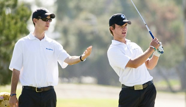 Cory Scoggin (left) with San Diego's Leon Knoll