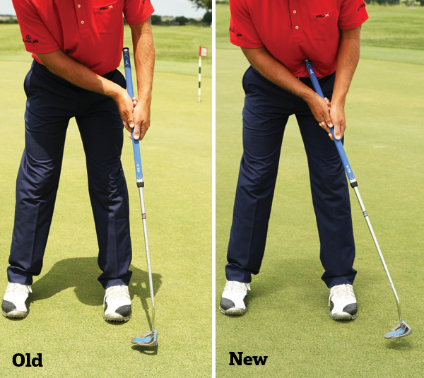 Howell used to keep his hands forward and not release the putter head. The belly putter forces Howell to release the clubhead because the club is anchored.
