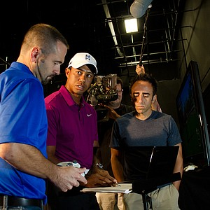 2 p.m.: Golfweek was granted exclusive access to an EA Sports motion-capture session with Tiger Woods on Tuesday in Orlando, Fla. During the day, Tiger was taken through different stations where everything from headshots, to voiceovers, to a breakdown of the upcoming features in the Tiger Woods PGA Tour 2013 game (slated for release next Spring) and finally to the actual capturing of his swings. Above, Tiger spent more than an hour with developers, reviewing new features in the game, and offering feedback on making the game more authentic, from the flight pattern of a ball, stances in a bunker to how far a ball would really go from particular points on a course. On Monday (Aug. 22, 2011), we will be releasing an exclusive video that will kick off a year-long series on the making of the new game.