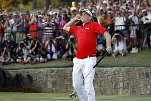 Keegan Bradley exults after winning the PGA Championship on Aug. 14.