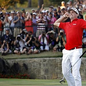 Keegan Bradley exults after winning the PGA Championship on Aug. 14.