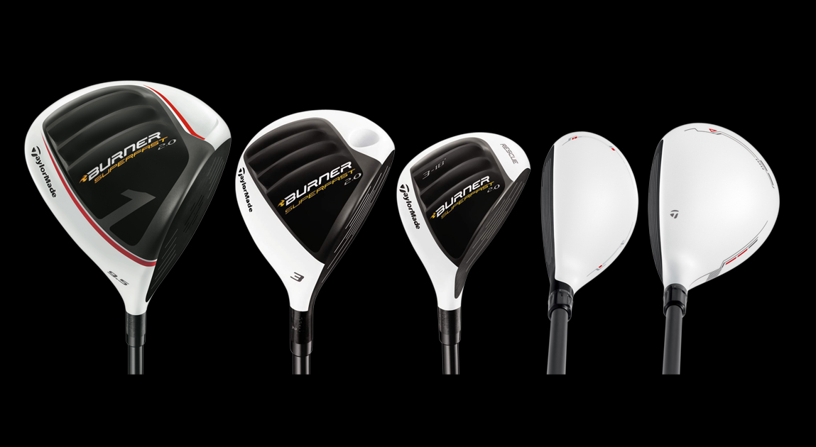 From left: Burner SuperFast 2.0 driver, Burner SuperFast 2.0 fairway wood, Burner SuperFast 2.0 rescue, Rescue 11, R11 fairway