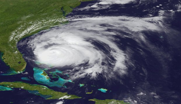 An image provided by NOAA is an Aug. 26, 2011 view of Hurricane Irene made by the GOES-east satellite. The hurricane is projected to follow a path up the East Coast from North Carolina to Maine and into Canada.