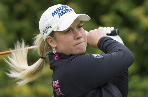 Brittany Lincicome, from the United States, tees off on the first hole during the final round of the Canadian Women's Open golf tournament at Hillsdale Golf Club in Mirabel, Quebec, Sunday, Aug. 28, 2011.
