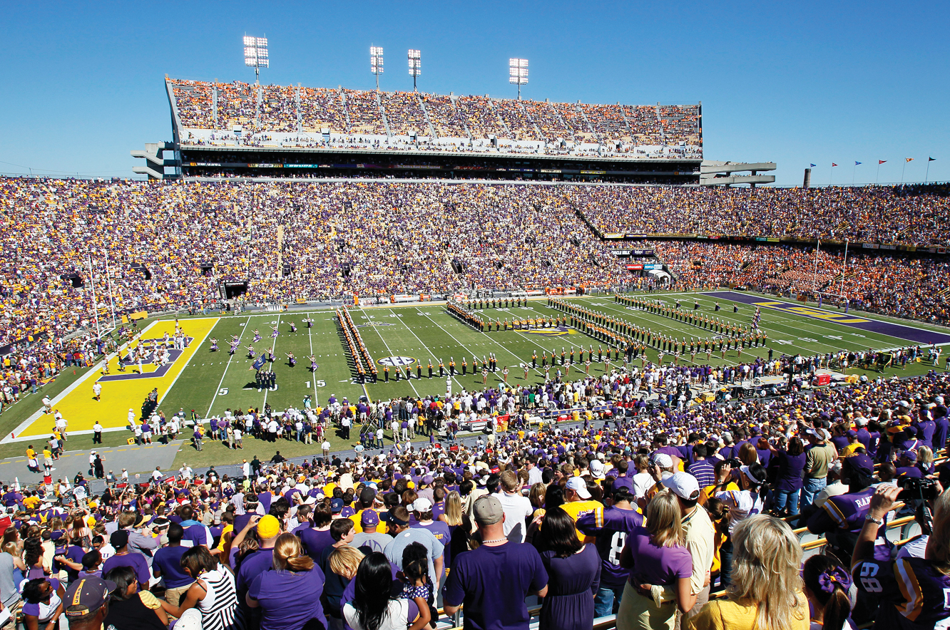 The fervor of the LSU faithful provides a counterpoint to the serene Bayou golf scene.