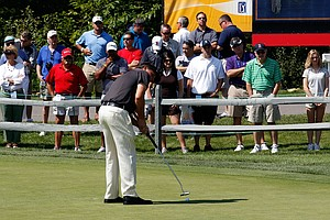 Phil Mickelson warms up on the practice putting green prior to playing in the first round of the Deutsche Bank Championship at TPC Boston on September 2, 2011 in Norton, Massachusetts.