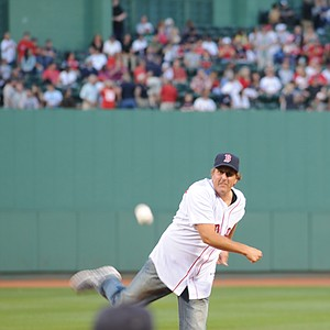 Phil Mickelson, mid pitch at Fenway Park.