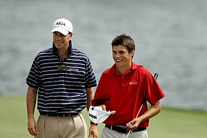 Gavin Hall, right, is congratulated by AJGA Tournament Director, Andrew Greenfield, at the 2011 Junior Players at TPC Sawgrass in Ponte Vedra Beach, FL.