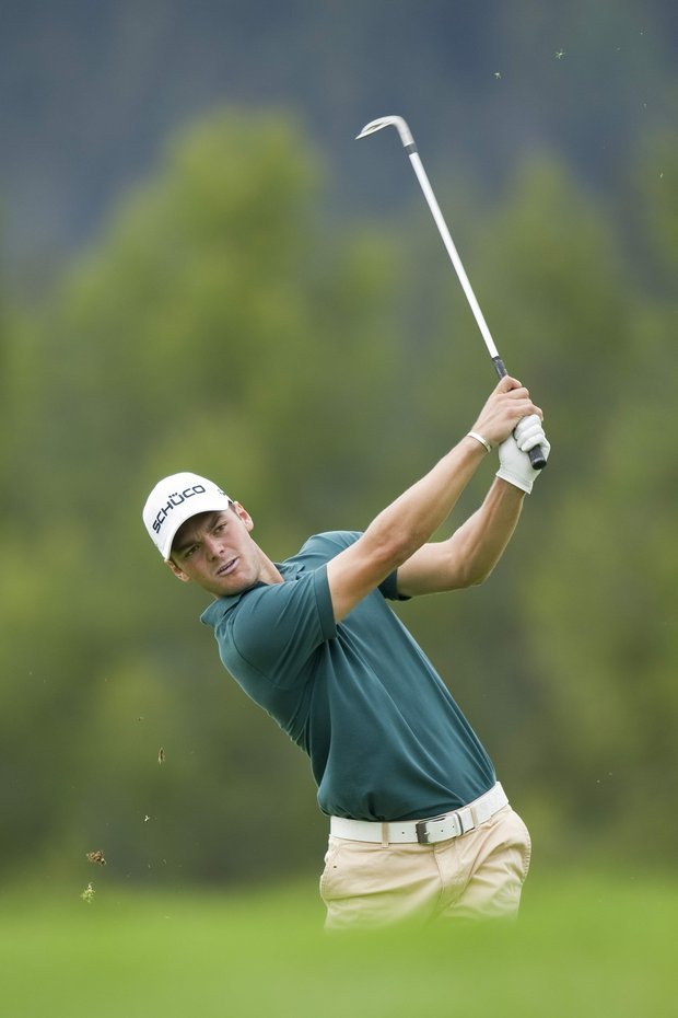 Martin Kaymer from Germany plays the ball during the second round of the Omega European Masters Golf Tournament in Crans Montana, Switzerland, Friday, Sept. 2, 2011.