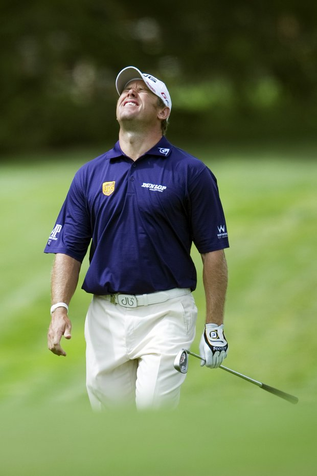 Lee Westwood from Great-Britain reacts on the 12th green during the third round of the Omega European Masters Golf Tournament in Crans Montana, Switzerland, Saturday, Sept. 3, 2011.