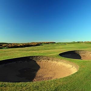The 441-yard par 4, 14th hole 'Dyke' at Royal Aberdeen Golf Club on May 12, 2011 in Aberdeen, Scotland.