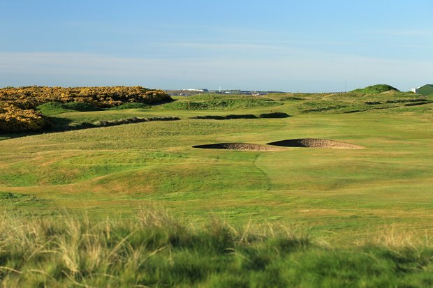 The 441-yard par 4, 14th hole 'Dyke' at Royal Aberdeen Golf Club on May 12, 2011 in Aberdeen, Scotland.