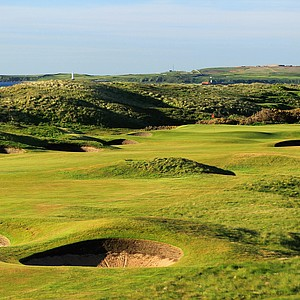 The 534-yard par 5, 12th hole 'Plateau' at Royal Aberdeen Golf Club on May 12, 2011 in Aberdeen, Scotland.