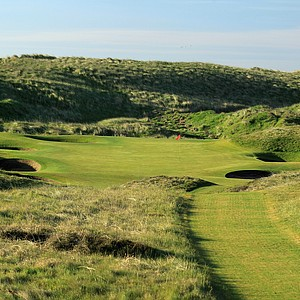 The 147-yard par 3, 8th hole 'Ridge' at Royal Aberdeen Golf Club on May 12, 2011 in Aberdeen, Scotland.