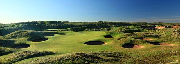 The 147-yard par 3, 8th hole 'Ridge' at Royal Aberdeen Golf Club on May 12, 2011 in Aberdeen, Scotland.