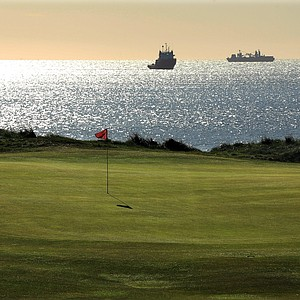 The green on the 409-yard par 4, 1st hole 'First' at Royal Aberdeen Golf Club on May 12, 2011 in Aberdeen, Scotland.