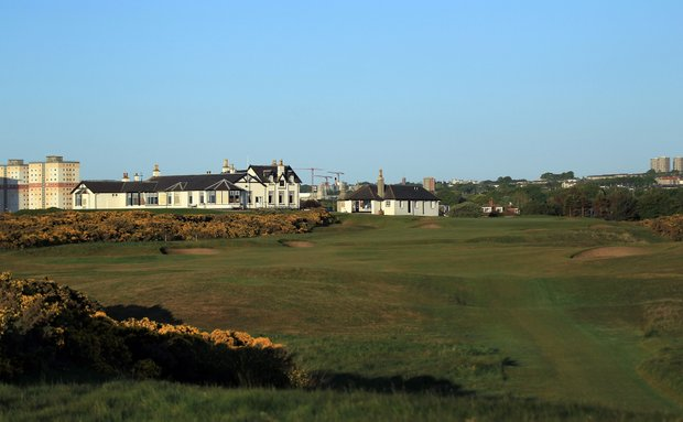 The 440 yards par 4, 18th hole 'Home' at Royal Aberdeen Golf Club on May 12, 2011 in Aberdeen, Scotland.