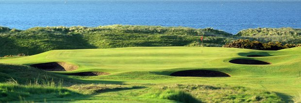 The 181 yards par 3, 17th hole 'Pots' at Royal Aberdeen Golf Club on May 12, 2011 in Aberdeen, Scotland.