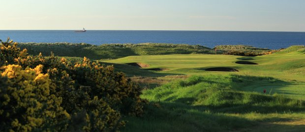 The 181-yard par 3, 17th hole 'Pots' at Royal Aberdeen Golf Club on May 12, 2011 in Aberdeen, Scotland.