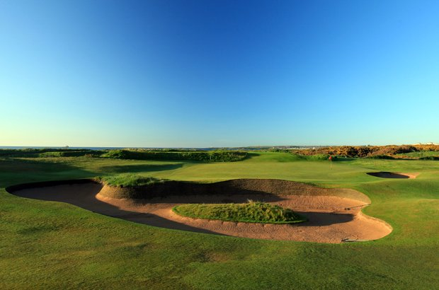 The approach to the green on the 367-yard par 4, 15th hole 'Well' at Royal Aberdeen Golf Club on May 12, 2011 in Aberdeen, Scotland.