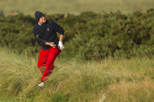 Nathan Smith (USA) plays his third shot on the 14th hole as seen during a the afternoon singles round at the 2011 Walker Cup at Royal Aberdeen Golf Club in Aberdeen on Saturday, Sept. 10, 2011.