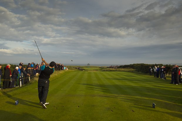 James Byrne (GB&I) plays his tee shot on the 17th hole as seen during the afternoon singles round at the 2011 Walker Cup at Royal Aberdeen Golf Club in Aberdeen on Saturday, Sept. 10, 2011.