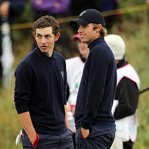 Patrick Cantlay and Chris Williams of the USA look on during the day one morning foursomes matches of the 2011 Walker Cup held on the Balgownie Links at Royal Aberdeen Golf Club on September 10, 2011 in Aberdeen, Scotland.  Cantlay and Williams would win their morning foursome match, 5 and 3.