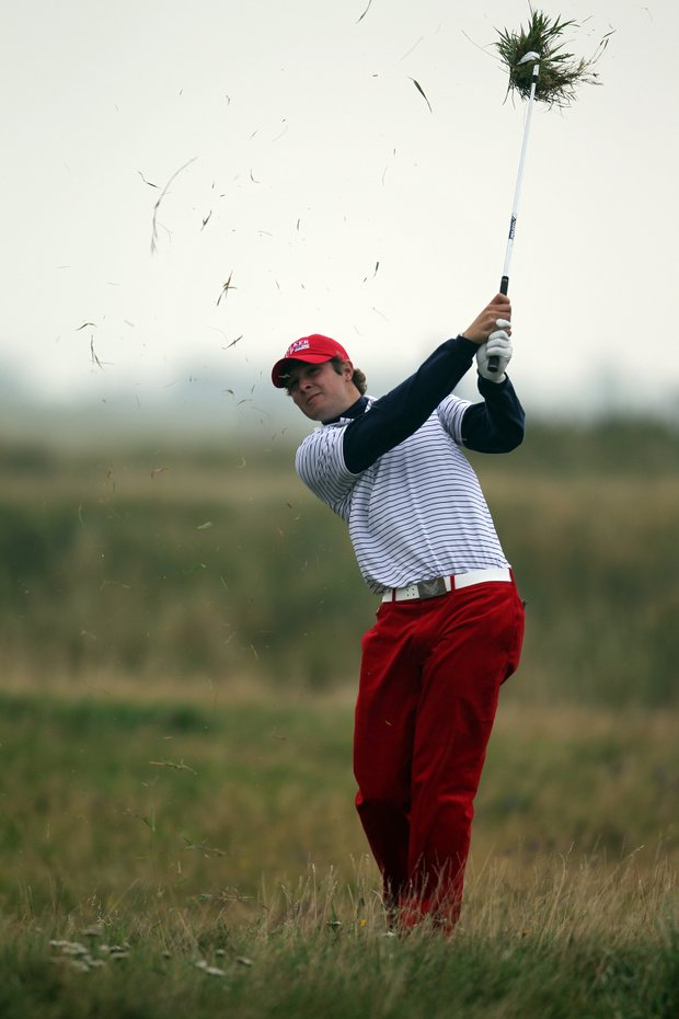 Peter Uihlein of USA plays out the rough during the day one afternoon singles matches of the 2011 Walker Cup held on the Balgownie Links at Royal Aberdeen Golf Club on September 10, 2011 in Aberdeen, Scotland.