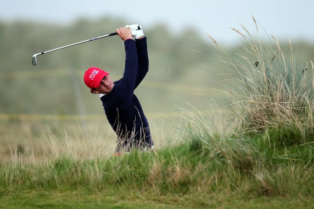 Kelly Kraft of the USA plays out of a bunker during the day one afternoon singles matches of the 2011 Walker Cup held on the Balgownie Links at Royal Aberdeen Golf Club on September 10, 2011 in Aberdeen, Scotland.