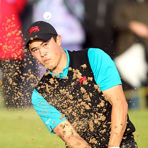 James Byrne of Great Britain and Ireland plays out of a bunker during the day one afternoon singles matches of the 2011 Walker Cup held on the Balgownie Links at Royal Aberdeen Golf Club on September 10, 2011 in Aberdeen, Scotland.