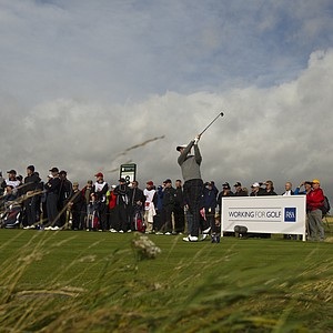 Patrick Rodgers (USA) plays his tee shot on the eighth hole as seen during the morning foursomes round at the 2011 Walker Cup at Royal Aberdeen Golf Club in Aberdeen on Sunday, Sept. 11, 2011.