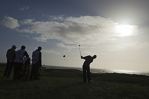 Harris English (USA) plays the second shot on the first hole as seen during the morning foursomes round at the 2011 Walker Cup at Royal Aberdeen Golf Club in Aberdeen on Sunday, Sept. 11, 2011.