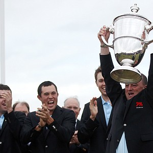 The victorious Great Britain and Ireland team captain Nigel Edwards with the Walker Cup at the end of Day 2 of the 2011 Walker Cup held on the Balgownie Links at Royal Aberdeen Golf Club on September 11, 2011 in Aberdeen, Scotland.