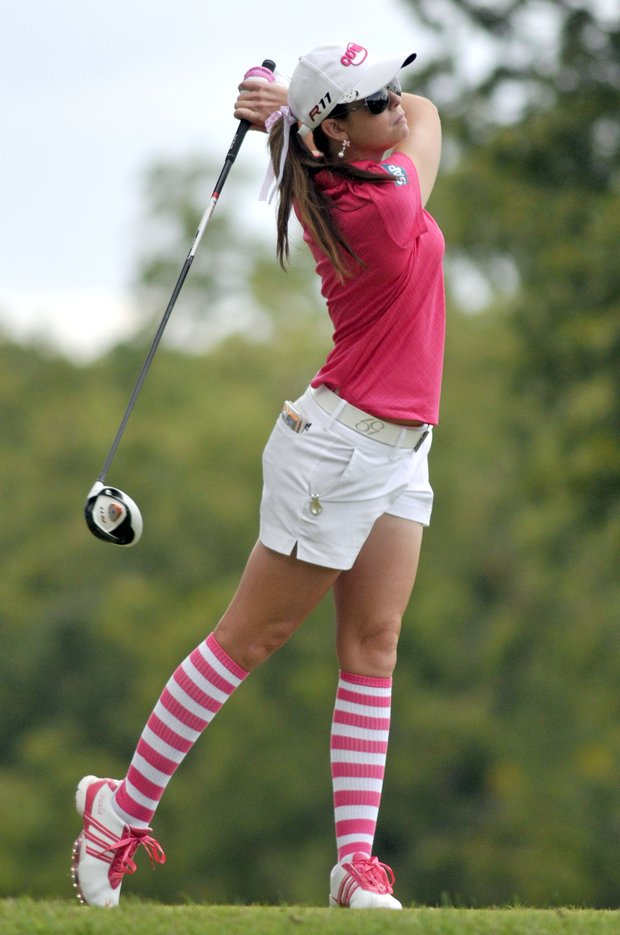 Paula Creamer tees off on the 16th hole during the second round of the LPGA NW Arkansas Championship golf tournament in Rogers, Ark., Saturday, Sept. 10, 2011.