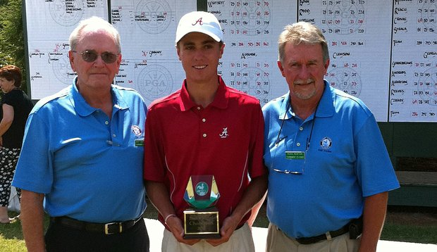 Alabama's Justin Thomas after winning his college debut, the Carpet Capital Collegiate.