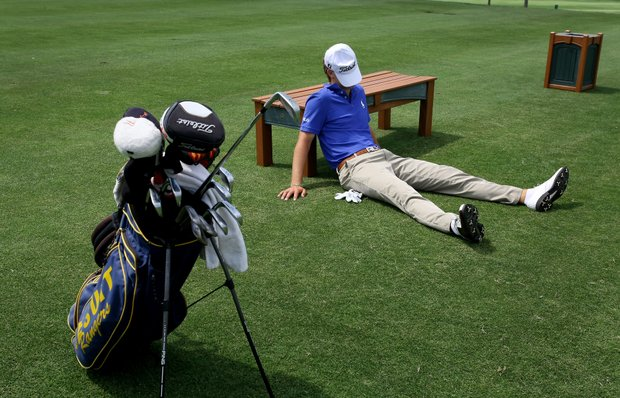 An exhausted Jordan Spieth takes a break during an instruction shoot with Golfweek. Spieth had just competed in the HP Byron Nelson tournament and some high school graduation activities the night before.