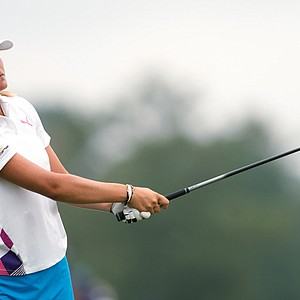 Lexi Thompson plays a tee shot during the first round of the Navistar LPGA Classic.