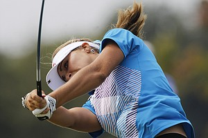 Lexi Thompson hits her drive from the third tee during the final round of the Navistar LPGA Classic golf tournament at Capitol Hill at the Robert Trent Jones Golf Trail in Prattville, Ala., on Sunday.