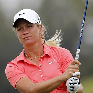 Suzann Pettersen, of Norway, hits her drive on the eighth hole during the first round of the Navistar LPGA Classic golf tournament at Capitol Hill on the Robert Trent Jones Golf Trail in Prattville, Ala., Thursday, Sept. 15, 2011.