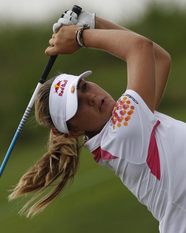 Lexi Thompson watches her tee shot on the 14th hole during the second round of the Navistar LPGA Classic golf tournament at Capitol Hill at the Robert Trent Jones Golf Trail in Prattville, Ala., Friday, Sept. 16, 2011.