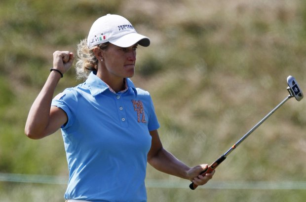 Giulia Sergas of Italy, reacts after making a birdie on the second hole during the third round of the Navistar LPGA Classic golf tournament at Capitol Hill at the Robert Trent Jones Golf Trail in Prattville, Ala., Saturday, Sept. 17, 2011.