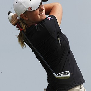 Stacy Lewis watches her tee shot on the second hole during the final round of the Navistar LPGA Classic golf tournament at Capitol Hill at the Robert Trent Jones Golf Trail in Prattville, Ala., Sunday, Sept. 18, 2011.