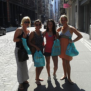 Nicole Smith, left, is joined by fellow Big Break Ireland competitors in New York City. From second to left: Mallory Blackwelder, Kelly Jacques and Annie Brophy.