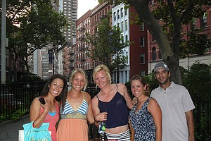 Nicole Smith, middle, is joined by (from left) Kelly Jacques, Annie Brophy, Mallory Blackwelder and Julien Trudeau in New York City for the Big Break Ireland premiere.