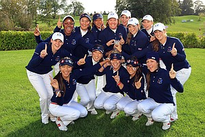 The U.S. team celebrates after retaining the Junior Solheim Cup in Ireland.